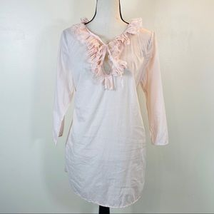 J. Crew pink ruffle keyhole neck cotton tunic top